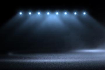 Poster Motorise blue spotlight smoke studio entertainment background.