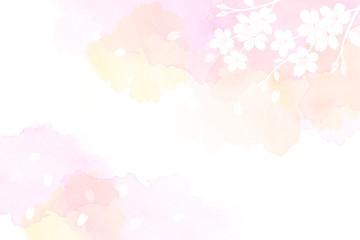 桜のイラストと水彩タッチの背景