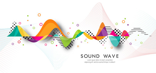 Acrylic Prints Abstract wave Abstract bright wave isolated on white background. Vector illustration for curl motion design.Cool curl wave header element. Modern bright colors.