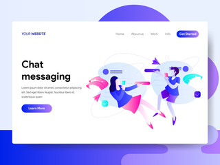 Landing page template of Chat Messaging Concept. Modern flat design concept of web page design for website and mobile website.Vector illustration