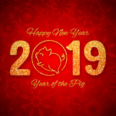 New year of the pig 2019 gold glitter design on red background, chinese horoscope symbol, vector illustration