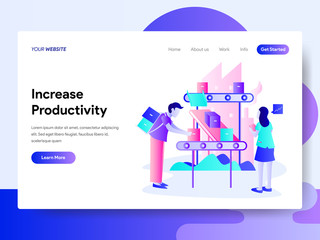 Landing page template of Increase Productivity Concept. Modern flat design concept of web page design for website and mobile website.Vector illustration