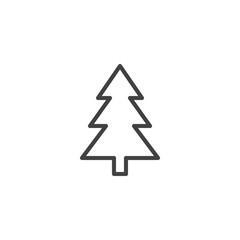 Xmas tree outline icon. linear style sign for mobile concept and web design. Coniferous forest simple line vector icon. Symbol, logo illustration. Pixel perfect vector graphics