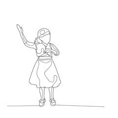 vector isolated sketch of a child dancing
