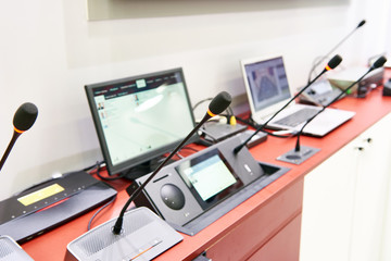 Microphones of digital conference systems