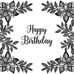 Happy Birthday Vector congratulation card with flowers