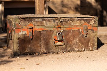 Old weathered chest with extreme rust and wear