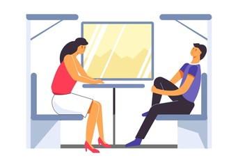 Passengers traveling in train, trip of people in carriage
