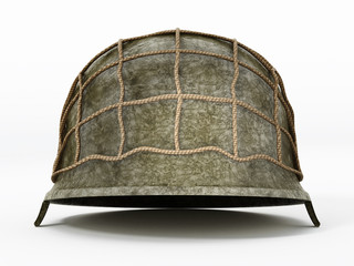 World War II helmet isolated on white background. 3D illustration