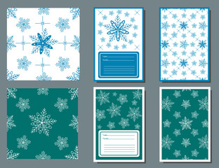 Seamless patterns and cards with the image of white snowflakes on a turquoise background and blue on a white background