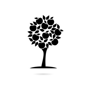 Black Apple tree icon or logo