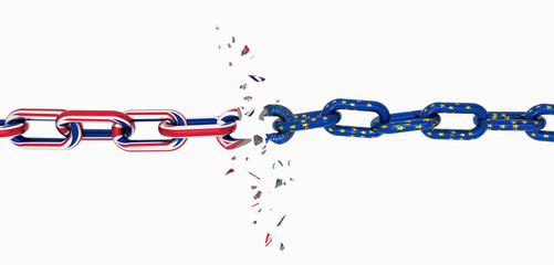 england flag chain broken brexit - 3d rendering