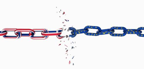 europen england flag chain broken brexit - 3d rendering