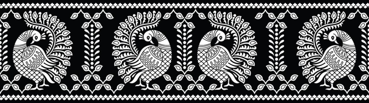 Seamless black and white peacock border