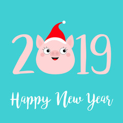 Happy New Year 2019 pink text. Cute pig face head. Red santa hat. Piggy piglet. Chinise symbol. Cartoon funny kawaii smiling baby character. Flat design. Blue background. Isolated.
