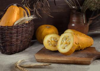 Autumn still life with pumpkin and zucchini