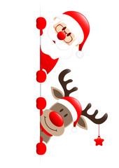 Santa & Rudolph On Top Star Banner