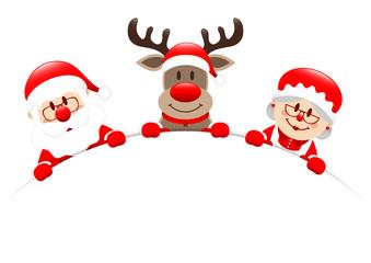 Santa, Rudolph & Mrs. Santa Round Banner