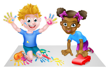 Cartoon boy and girl playing. Girl has a car boy has paints