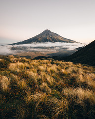 Mt Taranaki with low clouds in New Zealand