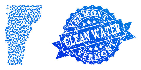 Map of Vermont State vector mosaic and clean water grunge stamp. Map of Vermont State designed with blue aqua raindrops. Seal with grunge rubber texture for pure drinking water.