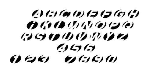 Black of round font. Isolated on White background