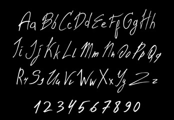 White of Handwritten lettering vector font aphabet. Isolated on Black background