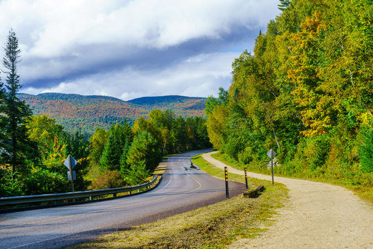 Footpath and road, in Mont Tremblant National Park