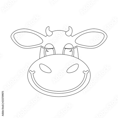 cartoon cow face   lining draw  front view vector