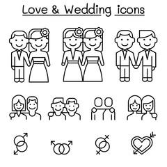Wedding & Loving icon set in thin line stlye