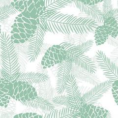 Seamless winter Christmas pine cones pattern