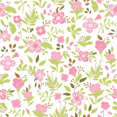 Cute floral seamless pattern with pink flower. Wild flowers illustration. Elegant template for fashion prints.