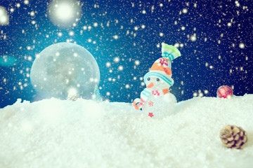 Snow Man full moon snowflakes background. The elements of this image furnished by NASA