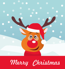 Merry Christmas vector card with funny Deer.