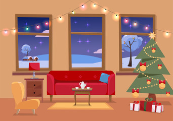 Christmas flat interior illustration of living room decorated for holidays. Cozy home interior with furniture, sofa, armchair, three windows to snowy winter landscape, Christmas tree, gifts, garland