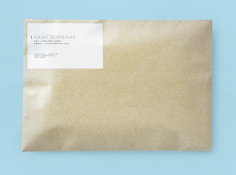 Natural brown paper envelope mockup