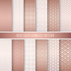 Rose gold pattern seamless collection. Pink gold abstract patterns. Set of 12 Metallic gold luxury background for gift wrap, wallpaper, web banner background, wrapping paper and fabric print.