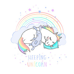 Custom blinds child's with your photo Vector illustration of hand drawn sleeping unicorn with toy rabbit and text - SLEEPING UNICORN on withe background. Cartoon style. Colored.