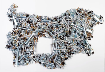 Bulgarian map composed of fasteners - bolts, nuts, washers, screws, saws, popnets, dowels, anchors, hinges, folds, rivets _2