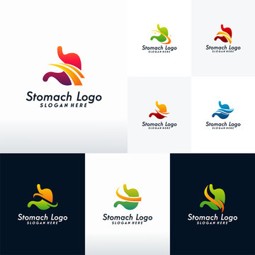 Set of Modern Stomach logo designs vector with swoosh, Collection of  Health Stomach logo template
