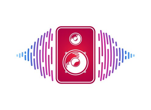 Vector red speaker with loudsound visualization isolated vector music equipment. Logo of sound power on white background