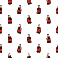 Seamless pattern hand drawn colorful cola bottle. Doodle black sketch. Sign symbol. Decoration element. Isolated on white background. Flat design. Vector illustration