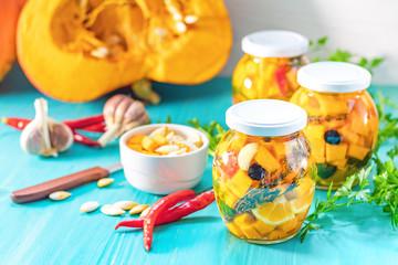 Marinated preserving jars. Fermented food