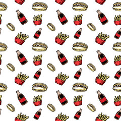 Seamless pattern hand drawn colorful Cola and French fries and Hot Dog. Doodle black sketch. Sign symbol. Decoration element. Isolated on white background. Flat design. Vector illustration