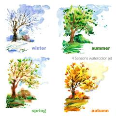 four seasons watercolor illustration set