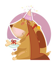 Happy long ear basset hound dog with festive cap gives a bone on the plate as a gift. Sticker, postcard.