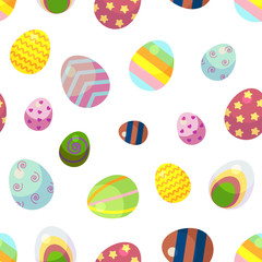 background for happy Easter day. The decorative Easter eggs with different patterns and different sizes