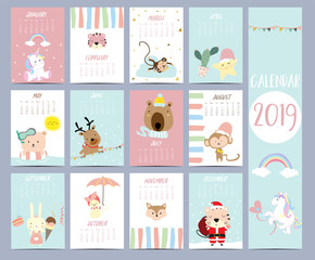 Doodle calendar set 2019 with Santa Claus,unicorn,tiger,monkey,star,cactus,bear,reindeer,rabbit for children.Can be used for printable graphic