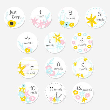 Cute baby monthly stickers. Floral set for newborn. Vector hand drawn illustration.