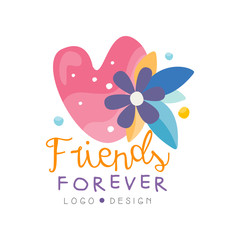 Friends forever logo design, Happy Friendship Day label for banner, poster, greeting card, t-shirt vector Illustration